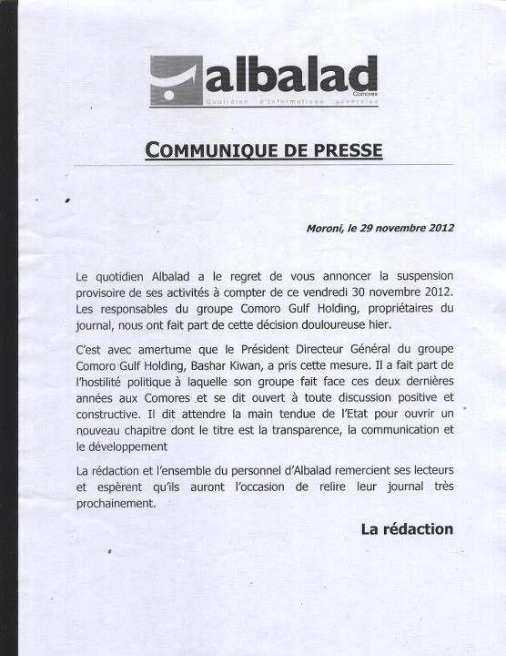 """ La suspension provisoire du journal "" Albalad"""